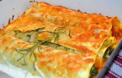 Cannellonis aux Crevettes et Épinards