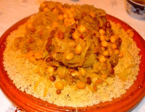 Couscous Au poisson (Le Congre) Et Tfaya (Recette Marocaine)